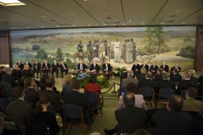 Press conference was held at the Church Office Building in Salt Lake City.