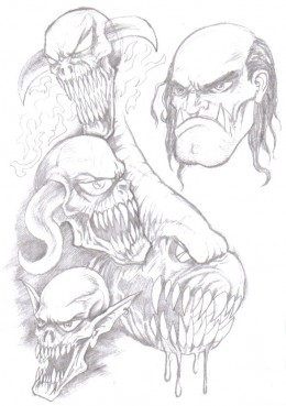 Fantasy art sketching. c Copyright Wayne Tully 2010.