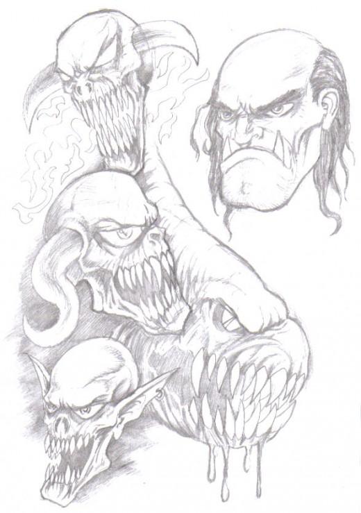 Fantasy art sketching. c Copyright Wayne Tully 2010.