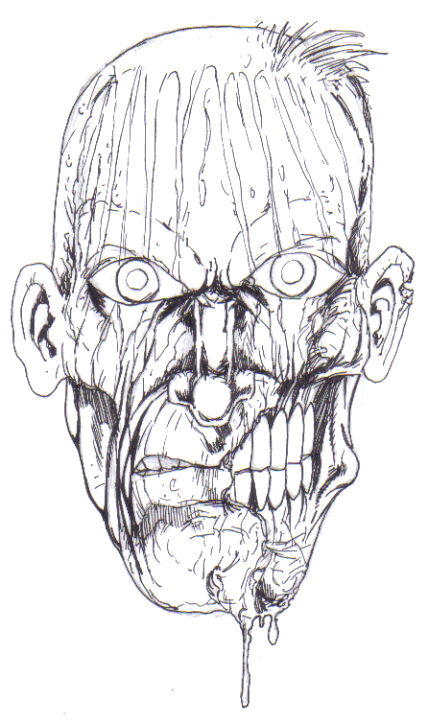 Drawing fantasy art - Zombie art work copyright Wayne Tully 2009.