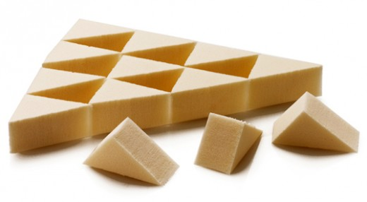 Triangular cosmetic sponges are most popular for foundation application.