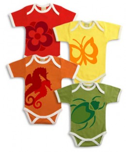 Some adorable organic cotton onesies made by Positively Organic
