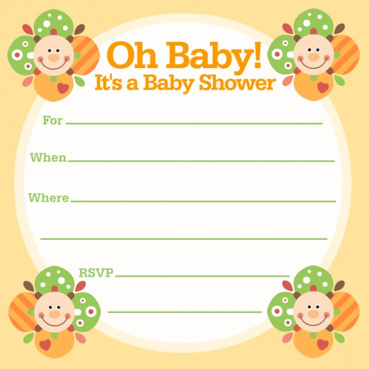Free happy faces baby shower invitation -- for boys or girls