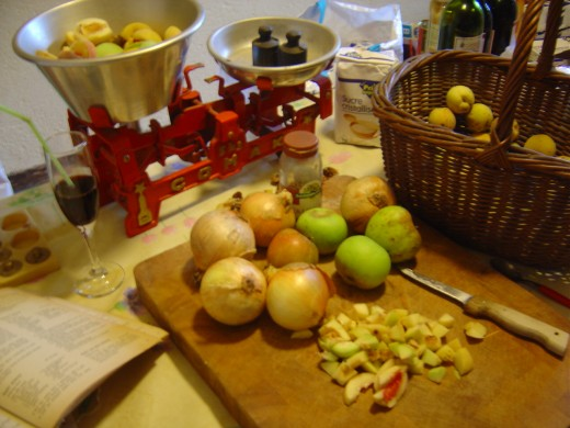 Weigh out ingredients so that you retain the correct proportions of fruit to onions, sugar and vinegar.