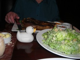 "Gemima the duck marvels at the size of this ""side dish"" of Ceasar Salad!!!"