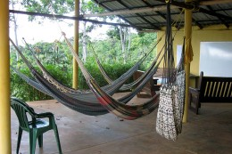 Hammock area! My favourite was the multi-coloured one. My bedroom was just on the right of the white hammock.