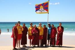 Visitors with lifeguards on Bondi Beach