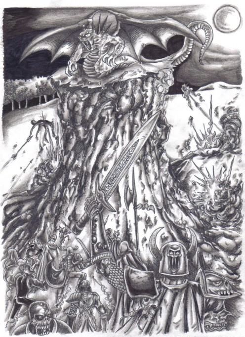 The original wardevil pencil sketch drawn offline. Copyright Wayne Tully 2009