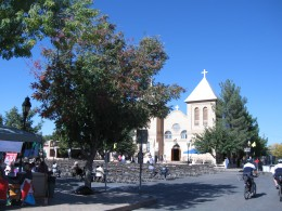Looking across plaza in center of La Mesilla, NM toward Basilica of San Albino