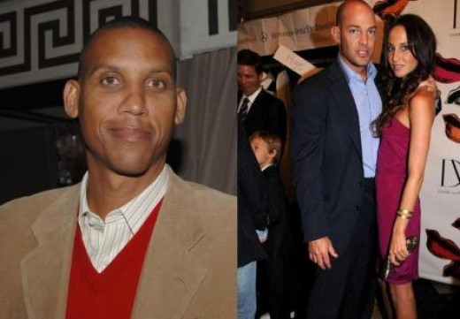 Reggie Miller is fearing for his life over love triangle with Ali Kay (pictured with her fiance Alex von Furstenberg)