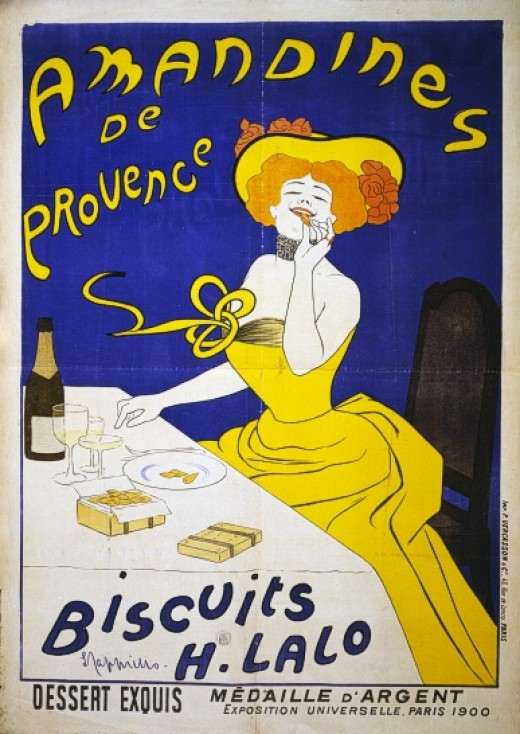 TITLE:  Amandines de Provence. Biscuits H. Lalo Poster showing a woman eating almond cookies. Made c1900 by Leonetto Cappiello.