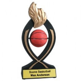In this unique Basketball Trophy, the basketball actually spins!
