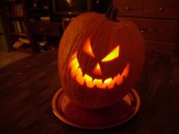 Scary Halloween Jack O' Lantern glowing in the dark