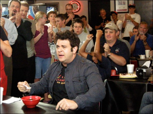 Adam Richman taking on the Joe Rogers Firebrand Chilli Challenge in Springfield, IL  Picture: The Travel Channel, L.L.C.