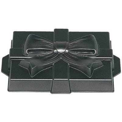 Gift cake pan makes it easy to create a festive holiday cake.