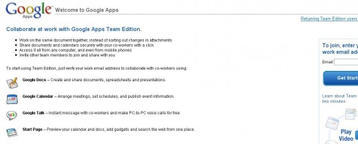 Google Apps (a team environment including Google Docs)