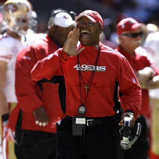 San Francisco 49ers coach Mike Singletary yells towards an official during the second quarter of a NFL football game against the Houston Texans Sunday, Oct. 25, 2009 in Houston. (AP Photo/David J. Phillip)