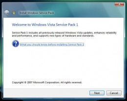 Welcome to Windows Vista Service Pack 1