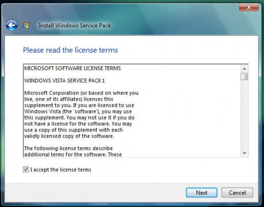 License Agreement Windows Vista Service Pack 1