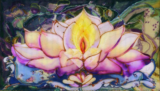 lotus painted on Silk