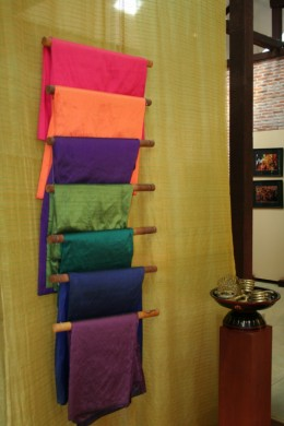 Silk scarves ready for sale.  From a weaving centre in Cambodia