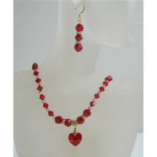 Siam Red Swarovski Crystals Heart Necklace Set Golden Shaodow Crystals