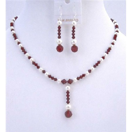 Custom Bridal Jewelry Dark Siam Red Swarovski Crystals & White Pearls