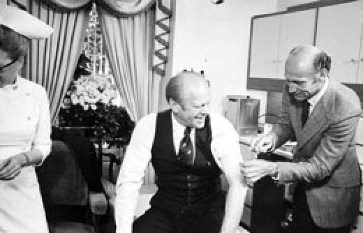 Vaccination can severely decrease your chances of catching swine flue, here is US presedent Gerald Ford getting the vaccine in 1976.