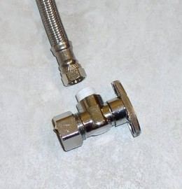connect your water line to under the sink first srew it on and then tighten with plyers or channel locks you don't have to over tighting just snug it up. then hook up your other end to your new shut off valve. remember to always plumbers tape around