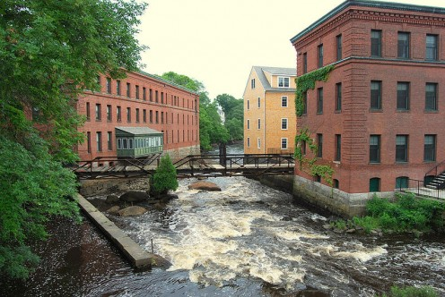 Lower Mills Village covers both sides of the Neponset River,  between Milton to the right and Boston (Dorchester) to the left. These structures are all part of the old Walter Baker Chocolate Factory.