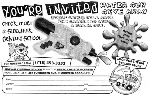 Flyer that Metro use to invite kids to the sidewalk Sunday School  (which takes place Monday to Friday! go figure!!)
