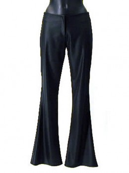 Flair pants make your legs look straighter by hiding the undesirable shape of the legs.