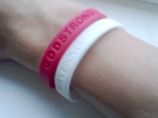 These two bracelets are from the 'Make Poverty History' and 'Godstrong' awareness campaigns.
