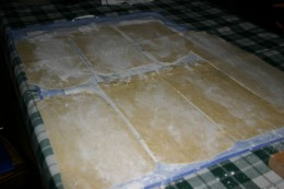 Lay the sheets of pasta on a towel, spingle with flour on both sides,