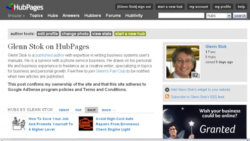 This is how I included the required statement of ownership in my HubPages Profile when I first started on HubPages.