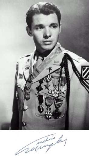 Audie Murphy in Uniform with Medals from World War II