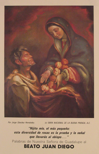 The poster shows a painting by Jorge Sánchez Hernandéz in which Our Lady of Guadalupe gives Juan Diego a garland of roses as a sign for him to present to the bishop in proof of the authenticity of his vision.