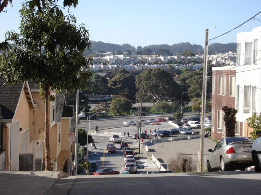 We parked up the hill in Bernal Heights (residential neighborhood). The market is to the below-left.