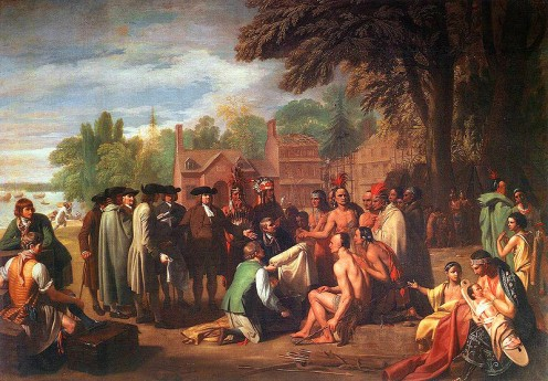 Artist Benjamin West: The Treaty of Penn with the Lenape (photos this page public domain).