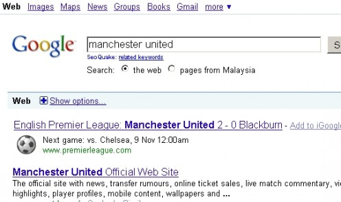 Google Search Premier League's Next Match