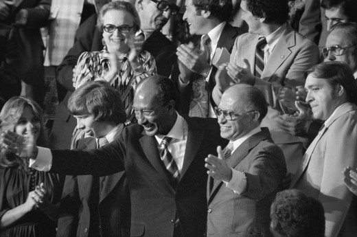 MENACHEM BEGIN & ANWAR SADAT AFTER SIGNING HISTORIC PEACE TREATY IN 1979