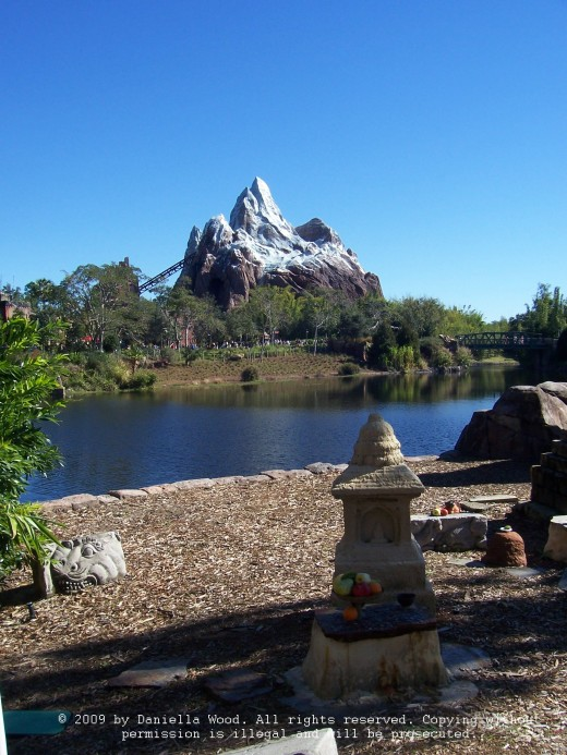 A view across the lake to Expedition Everest in the Animal Kingdom
