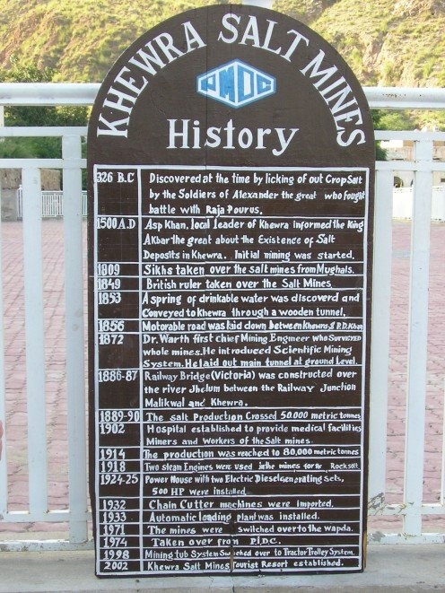 A sign with details of the mine's history.