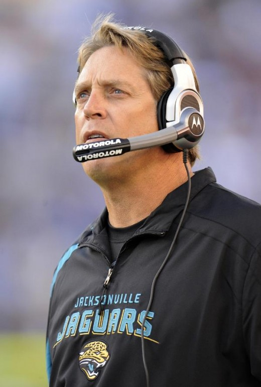 Jacksonville Jaguars head coach Jack Del Rio looks up at the scoreboard in the second quarter in game against the Tennessee Titans 11/1/09. (AP Photo/John Russell)