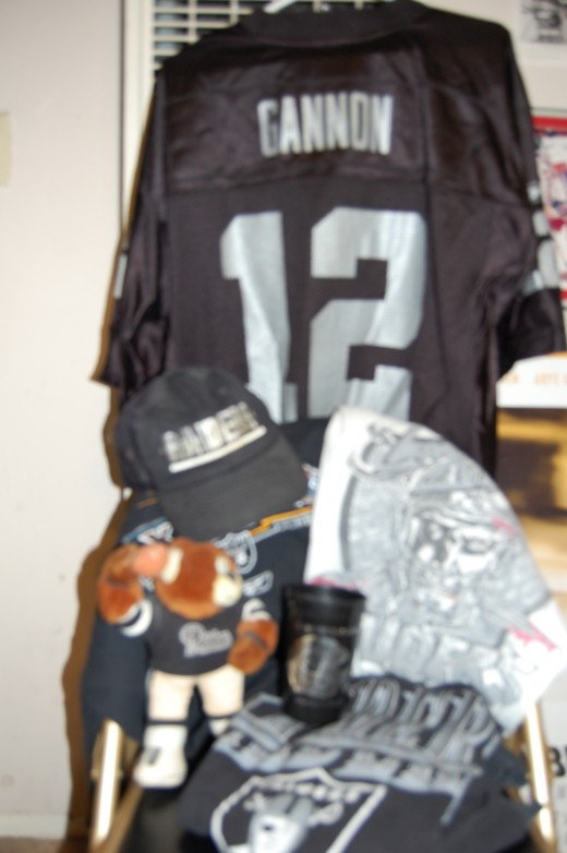 This is all the Raider gear; clothes, hats, bears, cups, etc. that I dropped off to Goodwill including a Rich Gannon jersey.