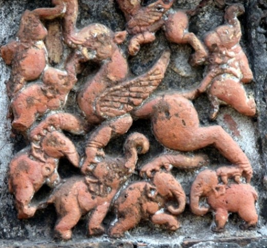 A winged horse ( 'Uchchaisraba' ... the horse Lord Indra rides?) tramples a congregation of elephants. Watch the ruthlessness of the horse and the elephants scattering .