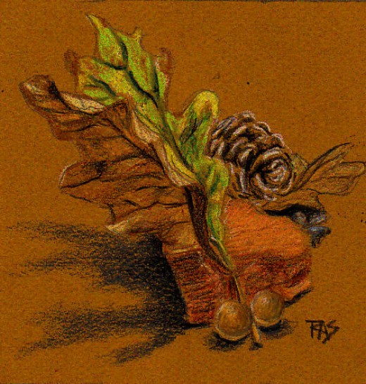 """Autumn: Leaf, Stone, Gall"" in Derwent Coloursoft colored pencils on tobacco color Canson Mi-Tientes, 5"" square, by Robert A. Sloan."