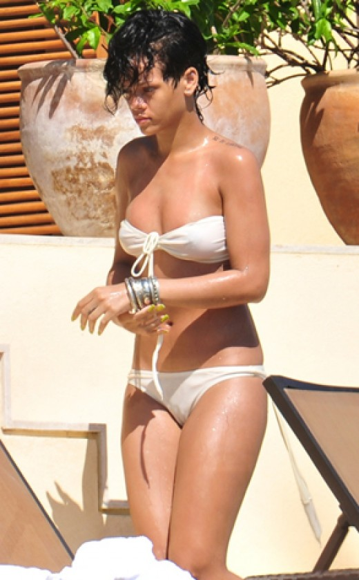 Rihanna in a cream bikini