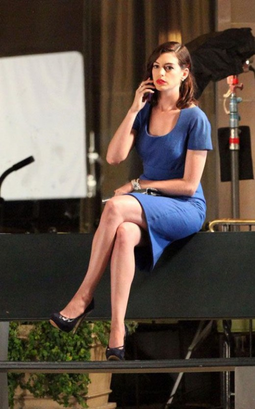 Anne Hathway crossed legs in high heels