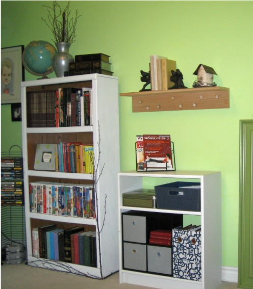 Storage space with whimsical decor to spur on creativity.
